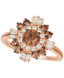Le Vian® Chocolate Diamonds® (3/4 ct. t.w.) & Nude Diamonds™ (3/8 ct. t.w.) Statement Ring in 14k Rose Gold & 14k White Gold