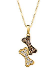 "Le Vian® I Love Dogs Collection 20"" Pendant Necklace (3/8 ct. t.w.) in 14k Gold"