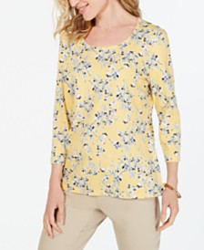 Karen Scott Petite 3/4-Sleeve Floral-Print Top, Created for Macy's