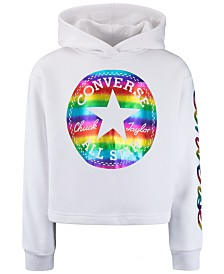 Converse Big Girls Cropped Logo-Print Hoodie