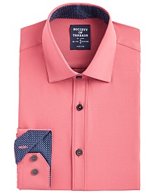 Society of Threads Men's Slim-Fit Performance Stretch Moisture-Wicking Wrinkle-Free Orange Solid Dress Shirt