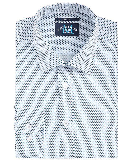 Michelsons of London Men's Slim-Fit Performance Stretch Diamond Dot Dress Shirt