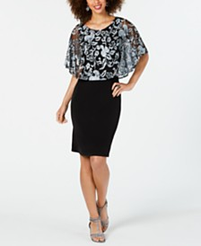 Connected Mesh Overlay Cape Dress