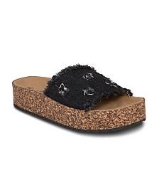 Olivia Miller Highland Denim Frayed Sandals