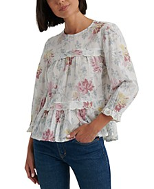 Cotton Textured Lace-Trim Top