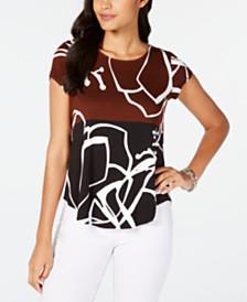 Alfani Petite Wave-Print Top, Created for Macy's