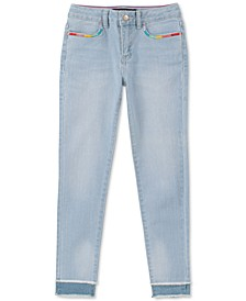 Big Girls Rainbow-Embroidered Skinny Jeans