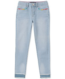 Calvin Klein Big Girls Rainbow-Embroidered Skinny Jeans