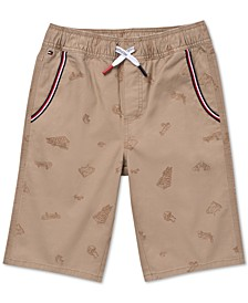 Big Boys Angel Stretch Skateboard-Print Twill Shorts
