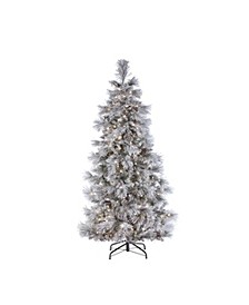 7ft. Pre-Lit Lightly Flocked Snowbell Pine with 450 Twinkle Lights