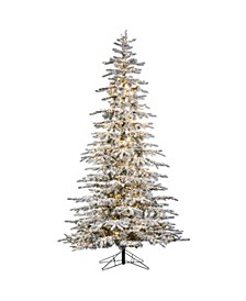 9-Foot High Flocked Pre-Lit Mountain Pine with Instant Glow Power Pole Feature