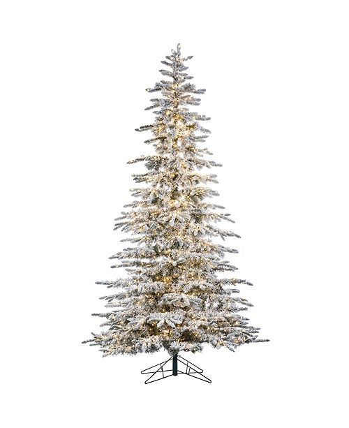 9 Foot High Flocked Pre Lit Mountain Pine With Instant Glow Power Pole Feature