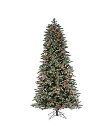 7.5-Foot High Natural Cut Pre-Lit Lightly Flocked Smoky Mountain Pine Tree with Pine Cone Accents