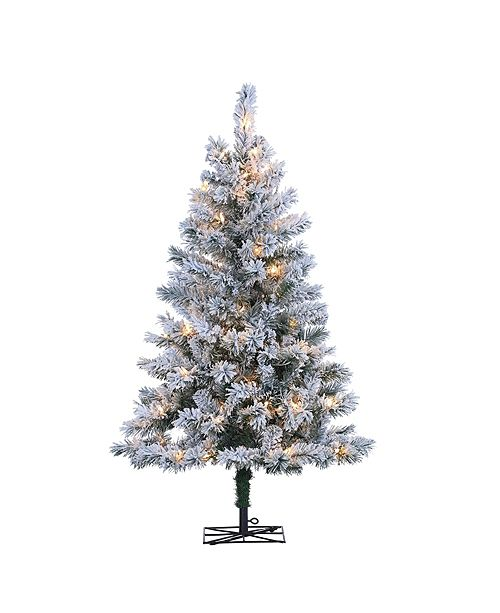 Sterling 4Ft. Flocked Colorado Spruce with 100 Clear Lights.