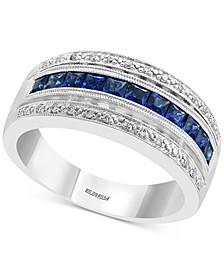 EFFY® Sapphire (3/4 ct. t.w.) & Diamond (1/10 ct. t.w.) Statement Ring in 14k White Gold