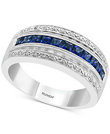 EFFY® Sapphire (3/4 ct. t.w.) & Diamond (1/10 ct. t.w.) Statement Ring in 14k White Gold