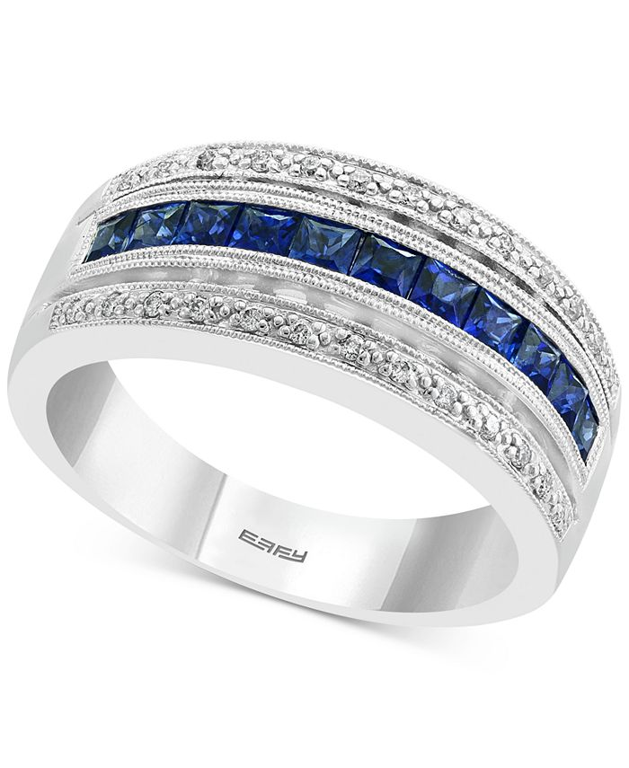 EFFY Collection - Sapphire (3/4 ct. t.w.) & Diamond (1/10 ct. t.w.) Statement Ring in 14k White Gold