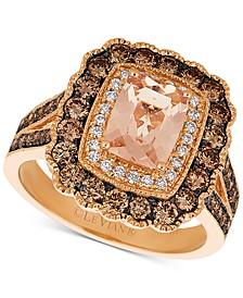 Peach Morganite (1 ct. t.w.) & Diamond (1 ct. t.w.) Ring in 14k Rose Gold Ring