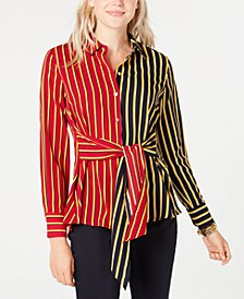 Colorblocked Striped Tie-Waist Shirt