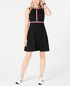 Striped-Trim A-Line Dress