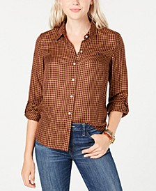 Plaid Roll-Tab-Sleeve Top