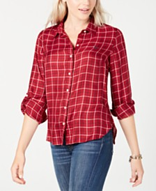 Tommy Hilfiger Roll-Sleeve Plaid Shirt
