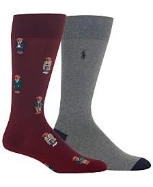 Polo Ralph Lauren Men's 2-Pk. Bear Quad Dress Socks