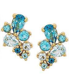 Bronzarte Blue Topaz Drop Earrings (1-3/8 ct. t.w.) in 14k Gold