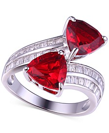 Ruby Cubic Zirconia Crossover Ring in Sterling Silver