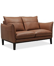 """Chanute 58"""" Leather Loveseat, Created for Macy's"""