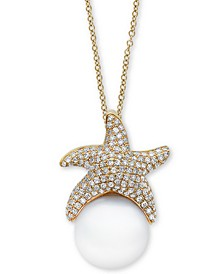 "EFFY® Cultured Freshwater Pearl (11-1/2mm) & Diamond (5/8 ct. t.w.) Starfish 18"" Pendant Necklace in 14k Gold"