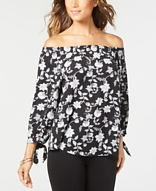 NY Collection Petite Printed Off-The-Shoulder Top