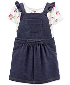 Baby Girls 2-Pc. Floral-Print Bodysuit & Denim Skirtall Set