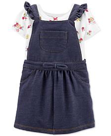 Carter's Baby Girls 2-Pc. Floral-Print Bodysuit & Denim Skirtall Set