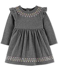 Baby Girls Heart-Print Ruffled Cotton Dress