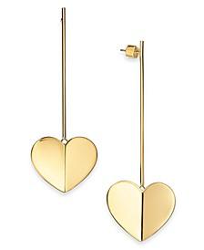 Gold-Tone or Silver-Tone Heart Linear Drop Earrings