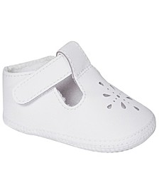 Baby Girl Leather T-Strap Crib Shoe with Perforations