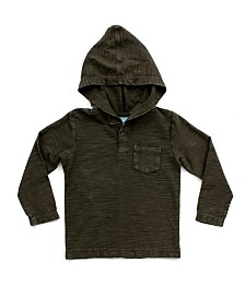 Bear Camp Toddler Boys Mineral Wash Long Sleeve Henley Hood Tee