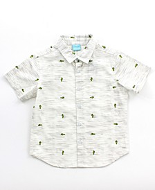 Little and big Boy Printed Button Down Shirt
