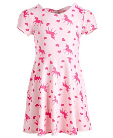 Epic Threads Little Girls Bow Back Unicorn-Print Dress, Created for Macy's