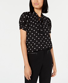Maison Jules Ruffled Polka-Dot Top, Created for Macy's