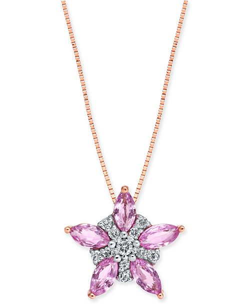 "Macy's Pink Sapphire (1-1/6 ct. t.w.) & Diamond (1/10 ct. t.w.) Star 18"" Pendant Necklace in 14k Rose Gold"