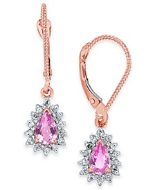 Pink Sapphire (1 ct. t.w.) & Diamond (1/4 ct. t.w.) Halo Drop Earrings in 14k Rose Gold