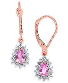 Pink Sapphire (1 ct. t.w.) & Diamond (1/4 ct. t.w.) Halo Drop Earrings in 14k Rose Gold