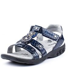 Therafit Shoe Charlotte Embossed Jeweled Adjustable Sandal