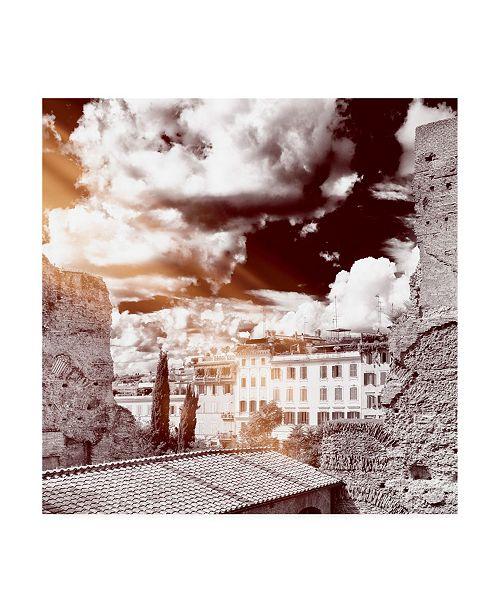 "Trademark Global Philippe Hugonnard Dolce Vita Rome 3 Rome Facades IV Canvas Art - 36.5"" x 48"""