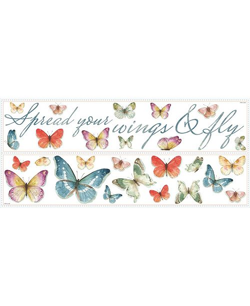 York Wallcoverings Lisa Audit Butterfly Quote Peel and Stick Wall Decals