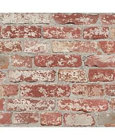 York Wallcoverings Stuccoed Dark Red Brick Peel And Stick Wallpaper