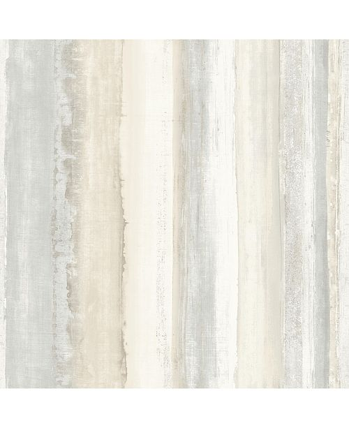York Wallcoverings Tan Watercolor Stripe Peel & Stick Wallpaper