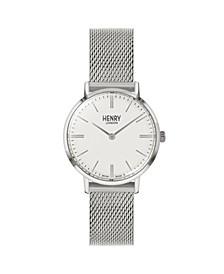 Unisex Regency Classic Analog Silvertone Mesh Watch 34 mm